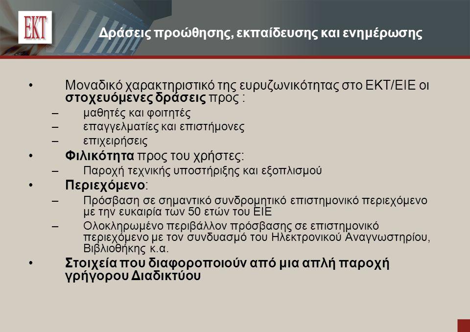 Δράσεις προώθησης, εκπαίδευσης και ενημέρωσης Μοναδικό χαρακτηριστικό της ευρυζωνικότητας στο ΕΚΤ/EIE οι στοχευόμενες δράσεις προς : –μαθητές και φοιτητές –επαγγελματίες και επιστήμονες –επιχειρήσεις Φιλικότητα προς του χρήστες: –Παροχή τεχνικής υποστήριξης και εξοπλισμού Περιεχόμενο: –Πρόσβαση σε σημαντικό συνδρομητικό επιστημονικό περιεχόμενο με την ευκαιρία των 50 ετών του ΕΙΕ –Ολοκληρωμένο περιβάλλον πρόσβασης σε επιστημονικό περιεχόμενο με τον συνδυασμό του Ηλεκτρονικού Αναγνωστηρίου, Βιβλιοθήκης κ.α.