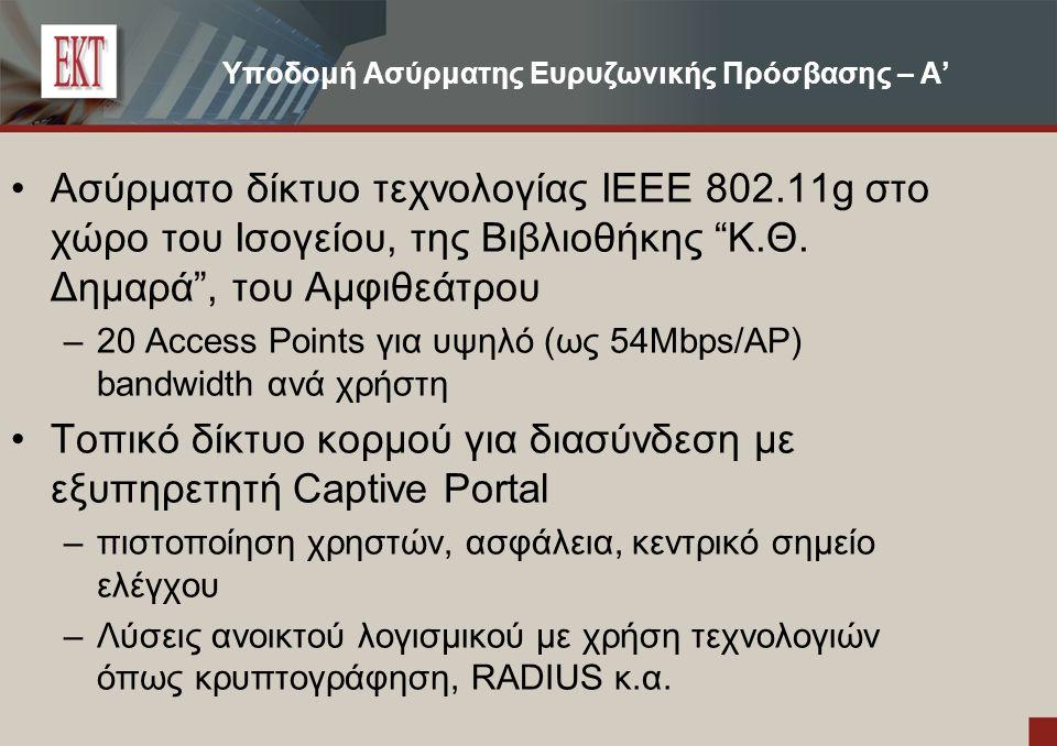 Υποδομή Ασύρματης Ευρυζωνικής Πρόσβασης – Β' Διασύνδεση με το Διαδίκτυο: –Αρχικά διασύνδεση με το δίκτυο ADSL για επίδειξη δυνατοτήτων του –Δυνατότητα σύνδεσης μέσω Δικτύου ΕΚΤ/ΕΙΕ και ΕΔΕΤ με υπερ- υψηλές ταχύτητες πρόσβασης.