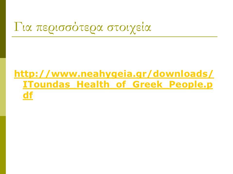 Για περισσότερα στοιχεία http://www.neahygeia.gr/downloads/ IToundas_Health_of_Greek_People.p df