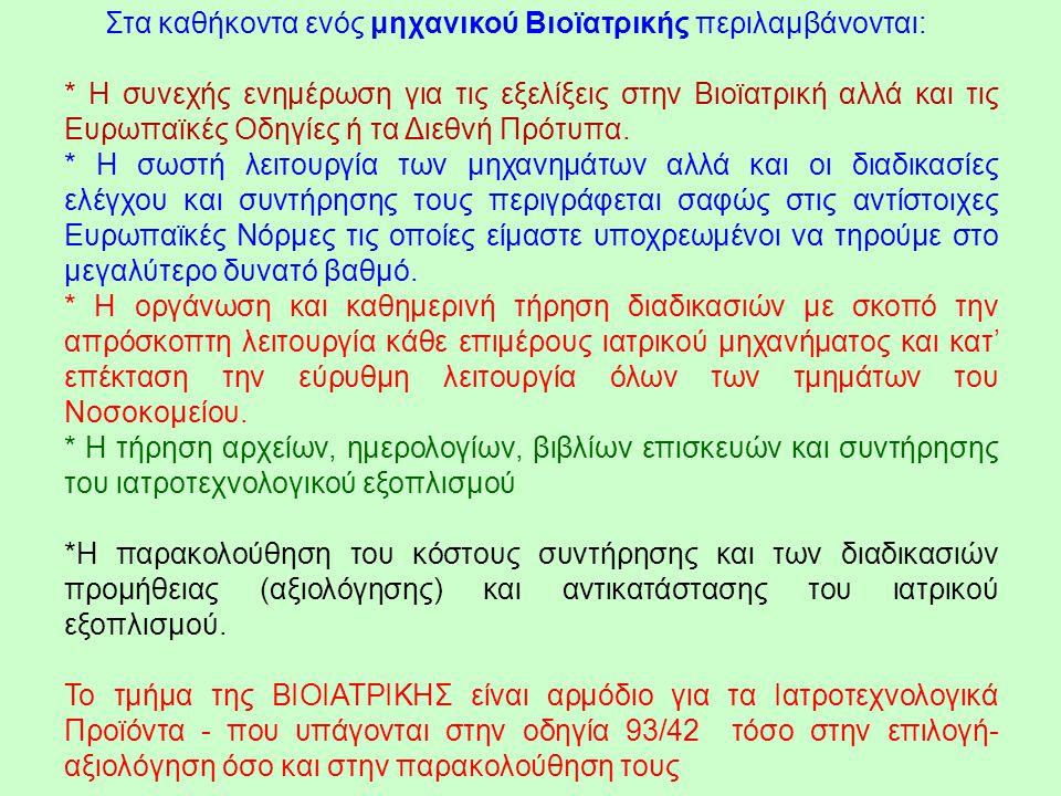 Στα καθήκοντα ενός μηχανικού Βιοϊατρικής περιλαμβάνονται: * Η συνεχής ενημέρωση για τις εξελίξεις στην Βιοϊατρική αλλά και τις Ευρωπαϊκές Οδηγίες ή τα