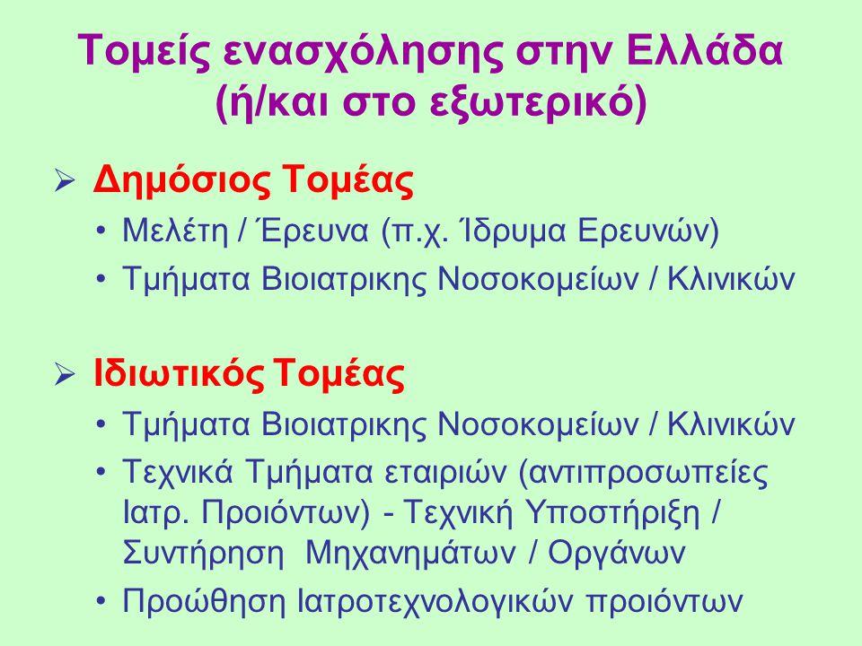 Τομείς ενασχόλησης στην Ελλάδα (ή/και στο εξωτερικό)  Δημόσιος Τομέας Μελέτη / Έρευνα (π.χ. Ίδρυμα Ερευνών) Τμήματα Βιοιατρικης Νοσοκομείων / Κλινικώ