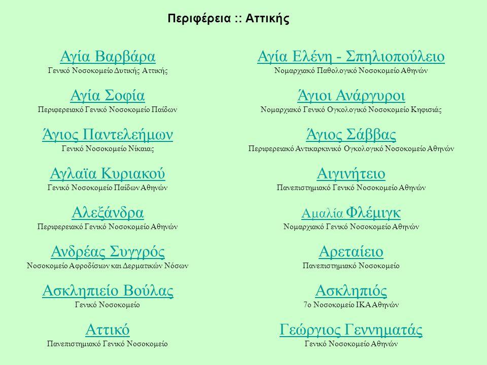 Περιφέρεια :: Αττικής Αγία Βαρβάρα Αγία Βαρβάρα Γενικό Νοσοκομείο Δυτικής Αττικής Αγία Ελένη - Σπηλιοπούλειο Αγία Ελένη - Σπηλιοπούλειο Νομαρχιακό Παθ