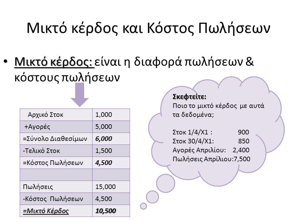 Μικτό κέρδος και Κόστος Πωλήσεων Μικτό κέρδος: Μικτό κέρδος: είναι η διαφορά πωλήσεων & κόστους πωλήσεων Αρχικό Στοκ1,000 +Αγορές5,000 =Σύνολο Διαθεσί