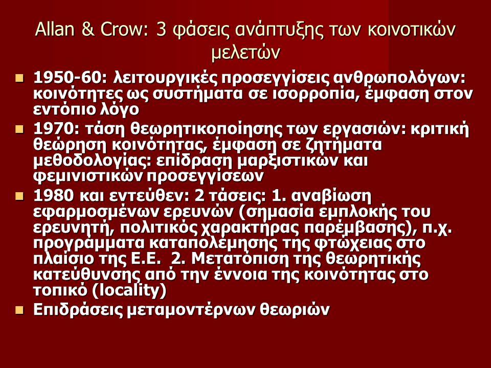 Αllan & Crow: 3 φάσεις ανάπτυξης των κοινοτικών μελετών 1950-60: λειτουργικές προσεγγίσεις ανθρωπολόγων: κοινότητες ως συστήματα σε ισορροπία, έμφαση στον εντόπιο λόγο 1950-60: λειτουργικές προσεγγίσεις ανθρωπολόγων: κοινότητες ως συστήματα σε ισορροπία, έμφαση στον εντόπιο λόγο 1970: τάση θεωρητικοποίησης των εργασιών: κριτική θεώρηση κοινότητας, έμφαση σε ζητήματα μεθοδολογίας: επίδραση μαρξιστικών και φεμινιστικών προσεγγίσεων 1970: τάση θεωρητικοποίησης των εργασιών: κριτική θεώρηση κοινότητας, έμφαση σε ζητήματα μεθοδολογίας: επίδραση μαρξιστικών και φεμινιστικών προσεγγίσεων 1980 και εντεύθεν: 2 τάσεις: 1.