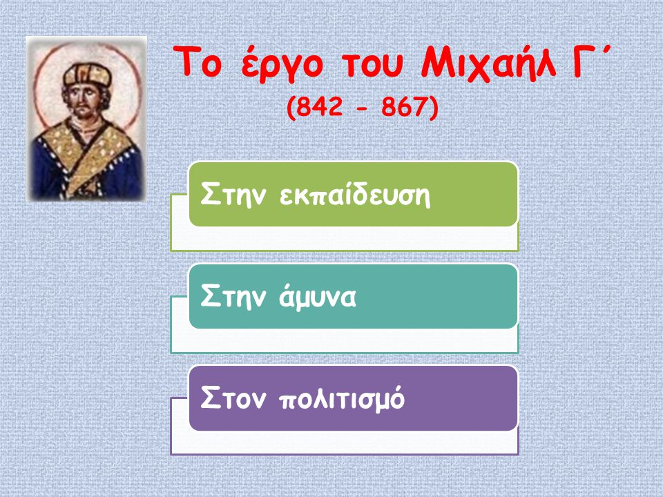 Στην εκπαίδευσηΣτην άμυναΣτον πολιτισμό Το έργο του Μιχαήλ Γ΄ (842 - 867)
