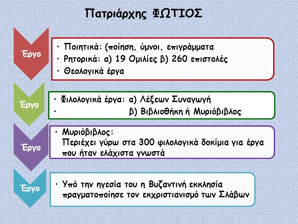Πατριάρχης ΦΩΤΙΟΣ Έργο Μυριόβιβλος: Περιέχει γύρω στα 300 φιλολογικά δοκίμια για έργα που ήταν ελάχιστα γνωστά Έργο Ποιητικά: (ποίηση, ύμνοι, επιγράμματα Ρητορικά: α) 19 Ομιλίες β) 260 επιστολές Θεολογικά έργα Έργο Φιλολογικά έργα: α) Λέξεων Συναγωγή β) Βιβλιοθήκη ή Μυριόβιβλος Έργο Υπό την ηγεσία του η Βυζαντινή εκκλησία πραγματοποίησε τον εκχριστιανισμό των Σλάβων