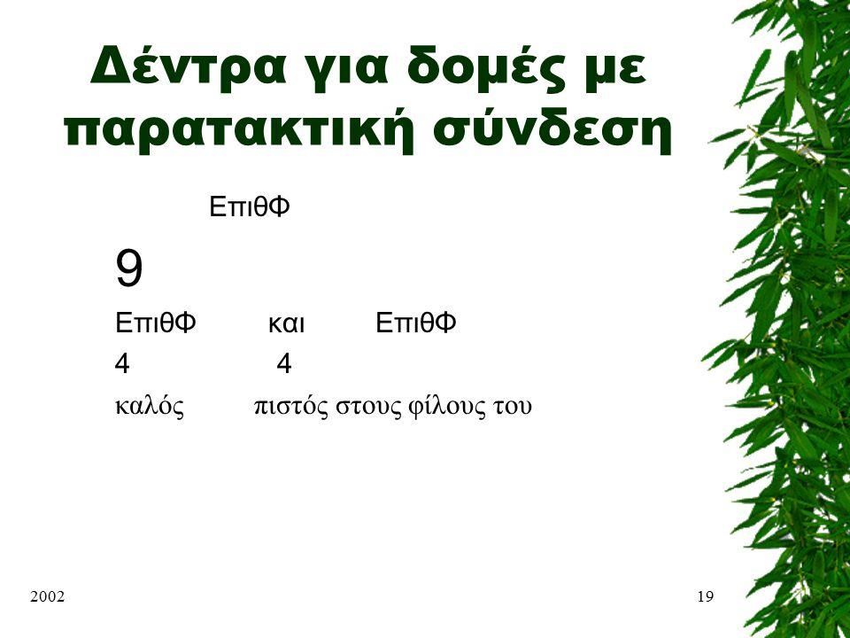 200219 Δέντρα για δομές με παρατακτική σύνδεση ΕπιθΦ 9 ΕπιθΦ και ΕπιθΦ 4 καλός πιστός στους φίλους του