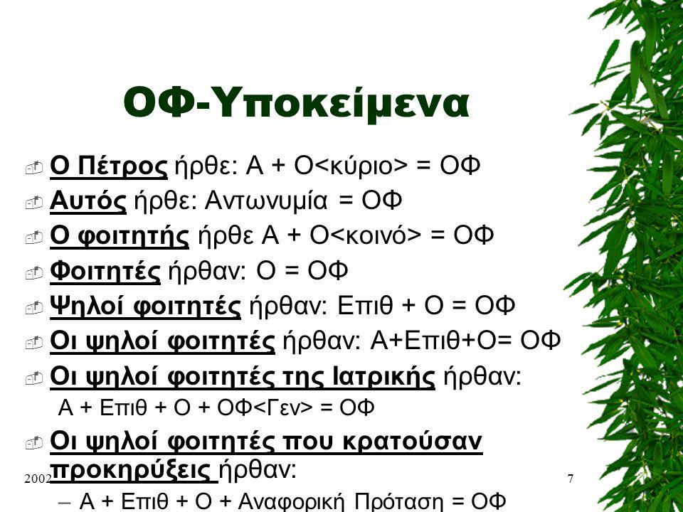 20027 ΟΦ-Υποκείμενα  Ο Πέτρος ήρθε: Α + Ο = ΟΦ  Αυτός ήρθε: Αντωνυμία = ΟΦ  Ο φοιτητής ήρθε Α + Ο = ΟΦ  Φοιτητές ήρθαν: Ο = ΟΦ  Ψηλοί φοιτητές ήρ