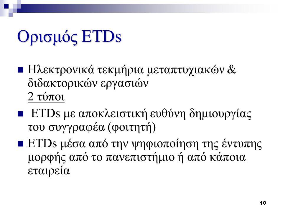 10 Ορισμός ETDs Ηλεκτρονικά τεκμήρια μεταπτυχιακών & διδακτορικών εργασιών 2 τύποι ETDs με αποκλειστική ευθύνη δημιουργίας του συγγραφέα (φοιτητή) ETDs μέσα από την ψηφιοποίηση της έντυπης μορφής από το πανεπιστήμιο ή από κάποια εταιρεία