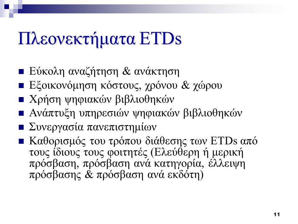 11 Πλεονεκτήματα ETDs Εύκολη αναζήτηση & ανάκτηση Εξοικονόμηση κόστους, χρόνου & χώρου Χρήση ψηφιακών βιβλιοθηκών Ανάπτυξη υπηρεσιών ψηφιακών βιβλιοθηκών Συνεργασία πανεπιστημίων Καθορισμός του τρόπου διάθεσης των ETDs από τους ίδιους τους φοιτητές (Ελεύθερη ή μερική πρόσβαση, πρόσβαση ανά κατηγορία, έλλειψη πρόσβασης & πρόσβαση ανά εκδότη)