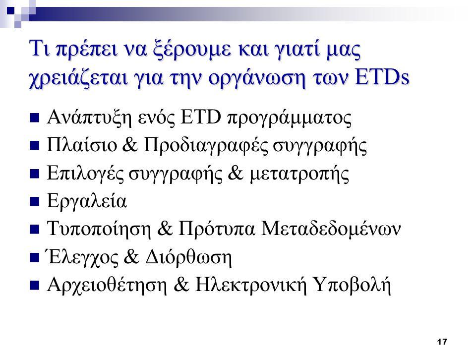 17 Τι πρέπει να ξέρουμε και γιατί μας χρειάζεται για την οργάνωση των ETDs Ανάπτυξη ενός ETD προγράμματος Πλαίσιο & Προδιαγραφές συγγραφής Επιλογές συγγραφής & μετατροπής Εργαλεία Τυποποίηση & Πρότυπα Μεταδεδομένων Έλεγχος & Διόρθωση Αρχειοθέτηση & Ηλεκτρονική Υποβολή