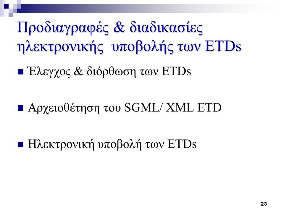 23 Προδιαγραφές & διαδικασίες ηλεκτρονικής υποβολής των ETDs Έλεγχος & διόρθωση των ETDs Αρχειοθέτηση του SGML/ XML ETD Ηλεκτρονική υποβολή των ETDs