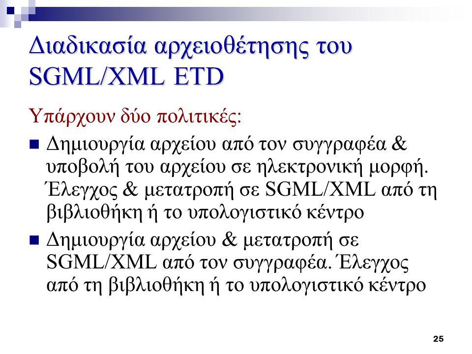 25 Διαδικασία αρχειοθέτησης του SGML/XML ETD Υπάρχουν δύο πολιτικές: Δημιουργία αρχείου από τον συγγραφέα & υποβολή του αρχείου σε ηλεκτρονική μορφή.