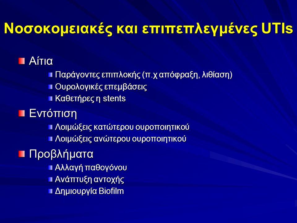 Νοσοκομειακές και επιπεπλεγμένες UTIs Αίτια Παράγοντες επιπλοκής (π.χ απόφραξη, λιθίαση) Ουρολογικές επεμβάσεις Καθετήρες η stents Εντόπιση Λοιμώξεις