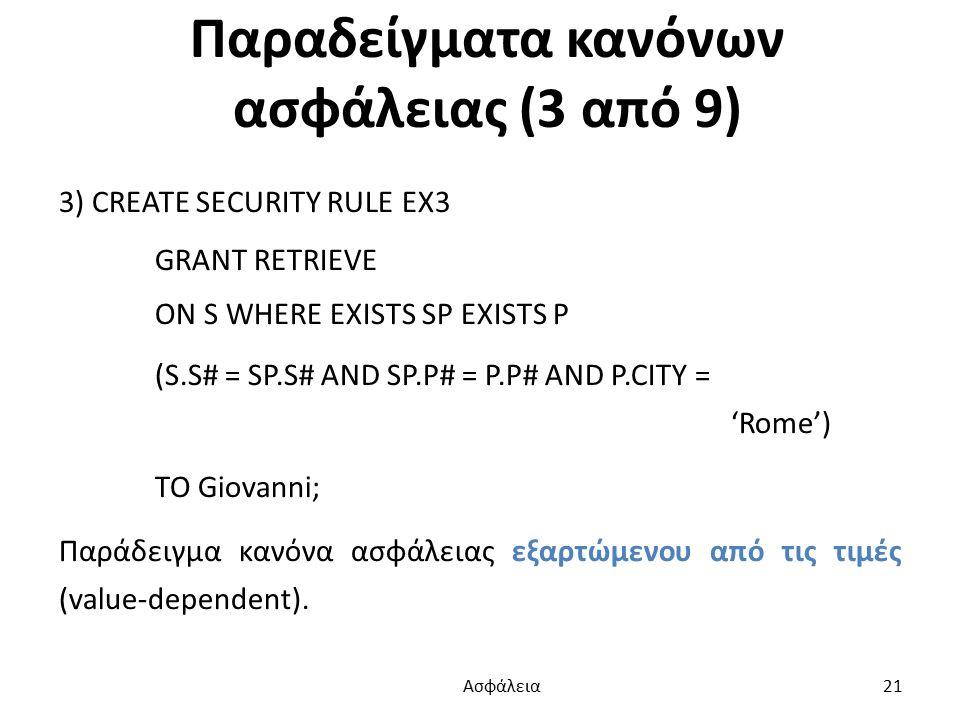 Παραδείγματα κανόνων ασφάλειας (3 από 9) 3) CREATE SECURITY RULE EX3 GRANT RETRIEVE ON S WHERE EXISTS SP EXISTS P (S.S# = SP.S# AND SP.P# = P.P# AND P.CITY = 'Rome') TO Giovanni; Παράδειγμα κανόνα ασφάλειας εξαρτώμενου από τις τιμές (value-dependent).