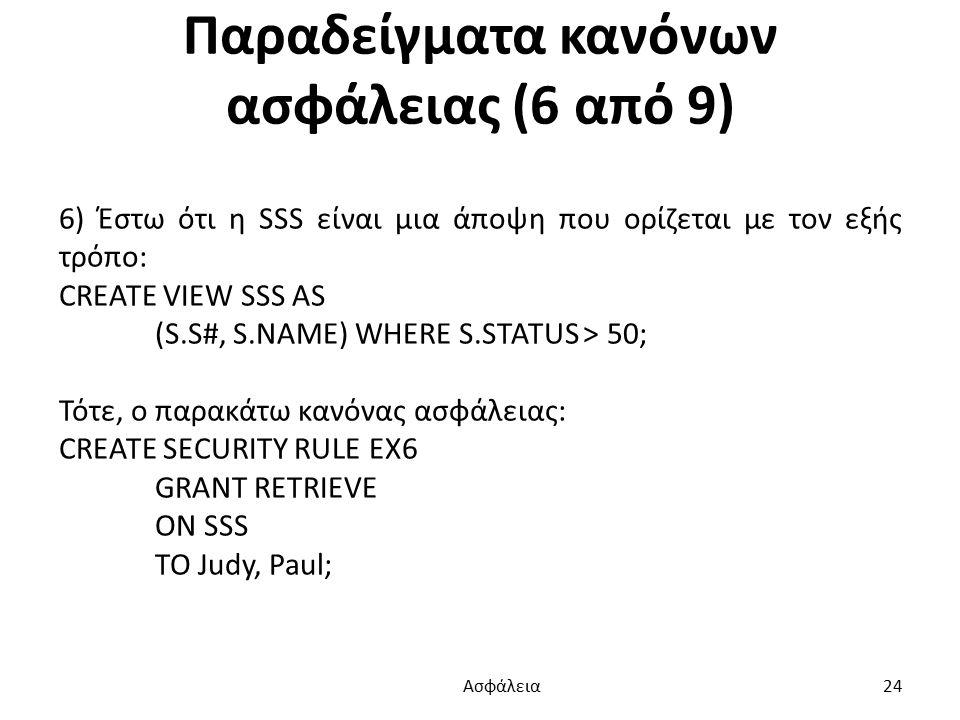 Παραδείγματα κανόνων ασφάλειας (6 από 9) 6) Έστω ότι η SSS είναι μια άποψη που ορίζεται με τον εξής τρόπο: CREATE VIEW SSS AS (S.S#, S.NAME) WHERE S.STATUS > 50; Τότε, ο παρακάτω κανόνας ασφάλειας: CREATE SECURITY RULE EX6 GRANT RETRIEVE ON SSS TO Judy, Paul; Ασφάλεια 24