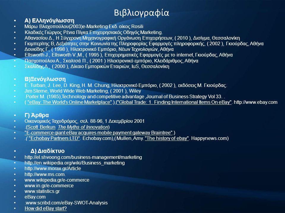 Βιβλιογραφία A) Ελληνόγλωσση Μάρω Βλαχοπούλου(2003)e-Marketing Εκδ.