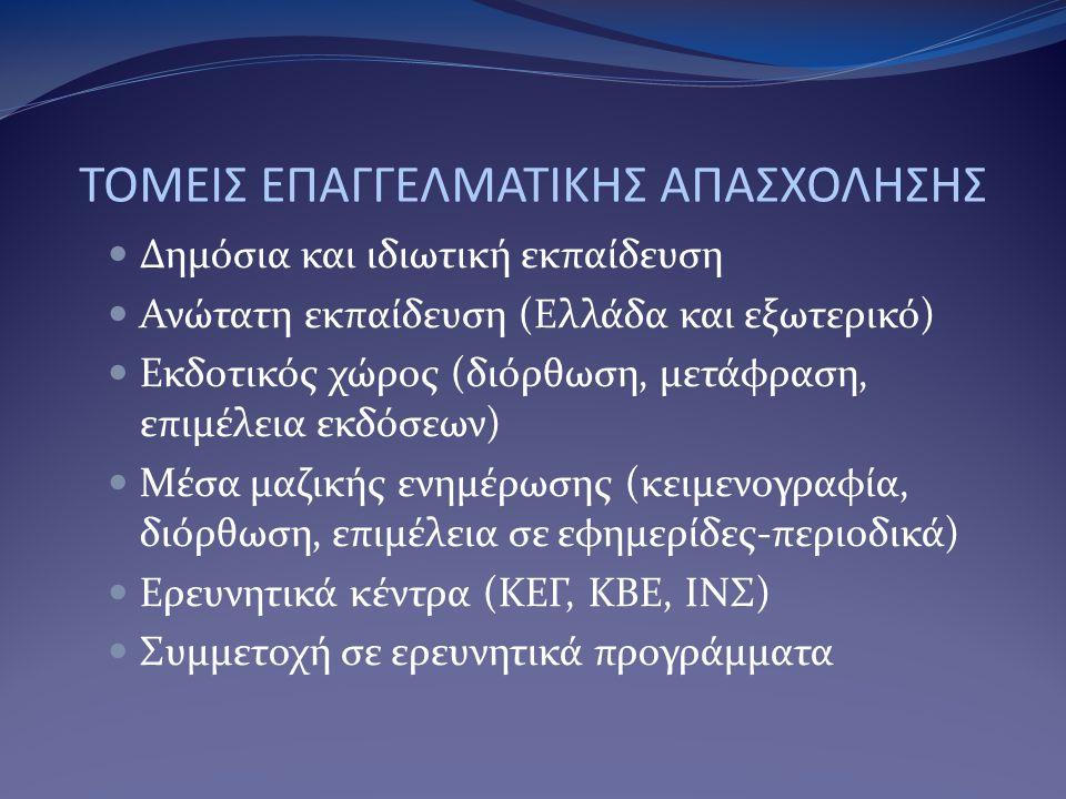 ΤΟΜΕΙΣ ΕΠΑΓΓΕΛΜΑΤΙΚΗΣ ΑΠΑΣΧΟΛΗΣΗΣ Δημόσια και ιδιωτική εκπαίδευση Ανώτατη εκπαίδευση (Ελλάδα και εξωτερικό) Εκδοτικός χώρος (διόρθωση, μετάφραση, επιμέλεια εκδόσεων) Μέσα μαζικής ενημέρωσης (κειμενογραφία, διόρθωση, επιμέλεια σε εφημερίδες-περιοδικά) Ερευνητικά κέντρα (ΚΕΓ, ΚΒΕ, ΙΝΣ) Συμμετοχή σε ερευνητικά προγράμματα