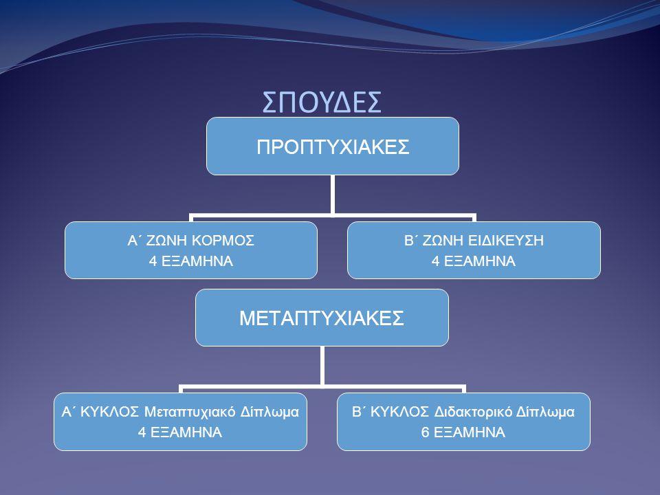 ΣΠΟΥΔΕΣ ΠΡΟΠΤΥΧΙΑΚΕΣ Α΄ ΖΩΝΗ ΚΟΡΜΟΣ 4 ΕΞΑΜΗΝΑ Β΄ ΖΩΝΗ ΕΙΔΙΚΕΥΣΗ 4 ΕΞΑΜΗΝΑ ΜΕΤΑΠΤΥΧΙΑΚΕΣ Α΄ ΚΥΚΛΟΣ Μεταπτυχιακό Δίπλωμα 4 ΕΞΑΜΗΝΑ Β΄ ΚΥΚΛΟΣ Διδακτορικό Δίπλωμα 6 ΕΞΑΜΗΝΑ