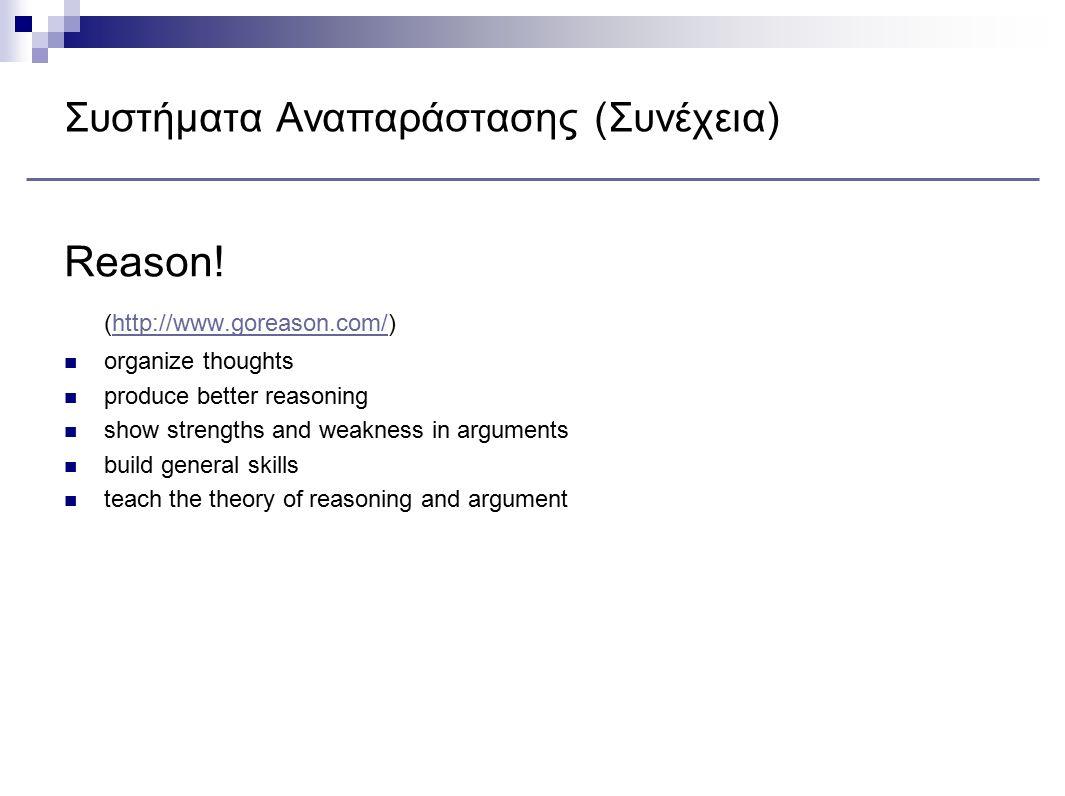 Συστήματα Αναπαράστασης (Συνέχεια) Reason! (http://www.goreason.com/)http://www.goreason.com/ organize thoughts produce better reasoning show strength
