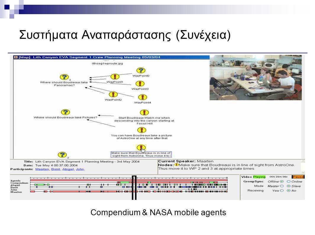 Συστήματα Αναπαράστασης (Συνέχεια) Compendium & NASA mobile agents