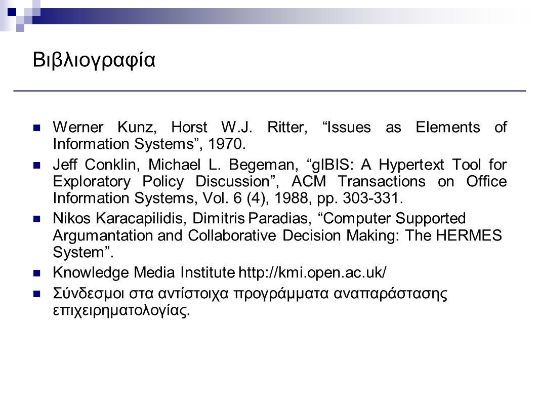 """Βιβλιογραφία Werner Kunz, Horst W.J. Ritter, """"Issues as Elements of Information Systems"""", 1970. Jeff Conklin, Michael L. Begeman, """"gIBIS: A Hypertext"""