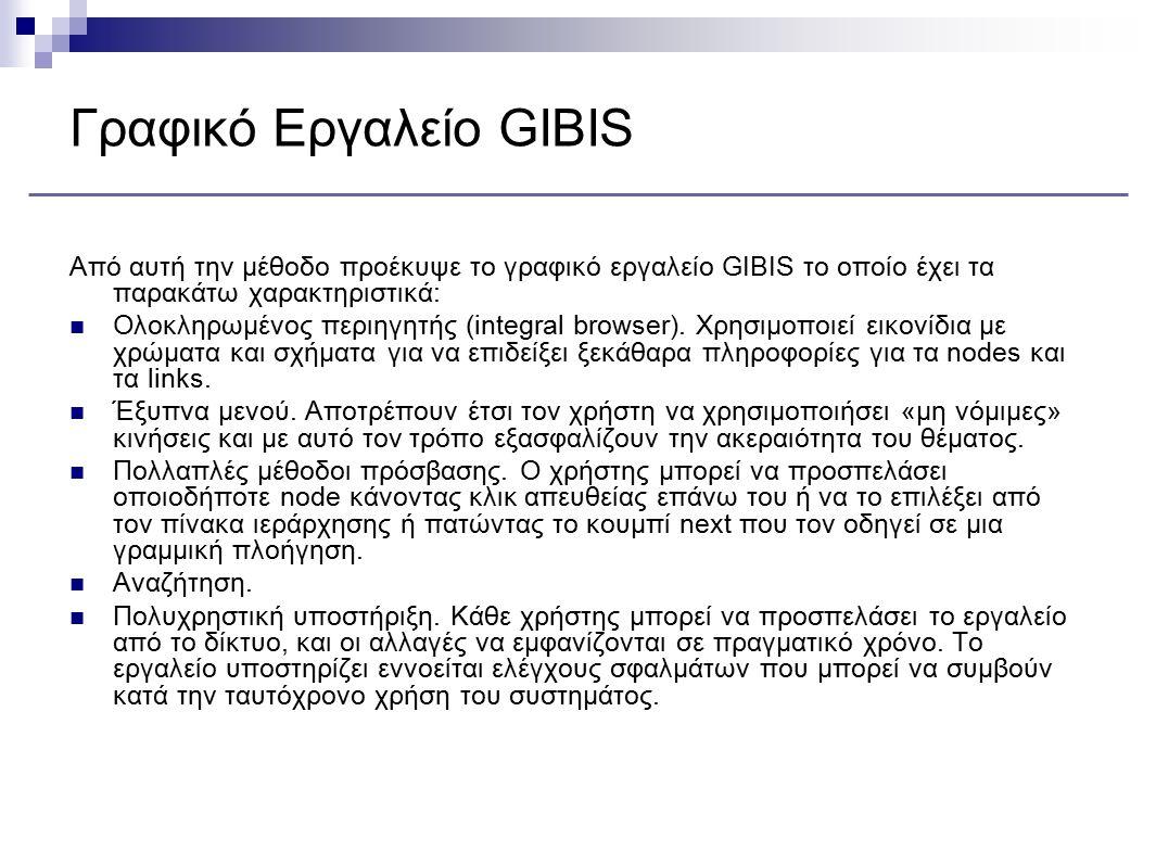 Γραφικό Εργαλείο GIBIS Από αυτή την μέθοδο προέκυψε το γραφικό εργαλείο GIBIS το οποίο έχει τα παρακάτω χαρακτηριστικά: Ολοκληρωμένος περιηγητής (inte
