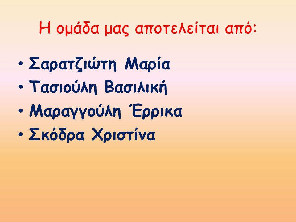 Η ομάδα μας αποτελείται από: Σαρατζιώτη Μαρία Τασιούλη Βασιλική Μαραγγούλη Έρρικα Σκόδρα Χριστίνα