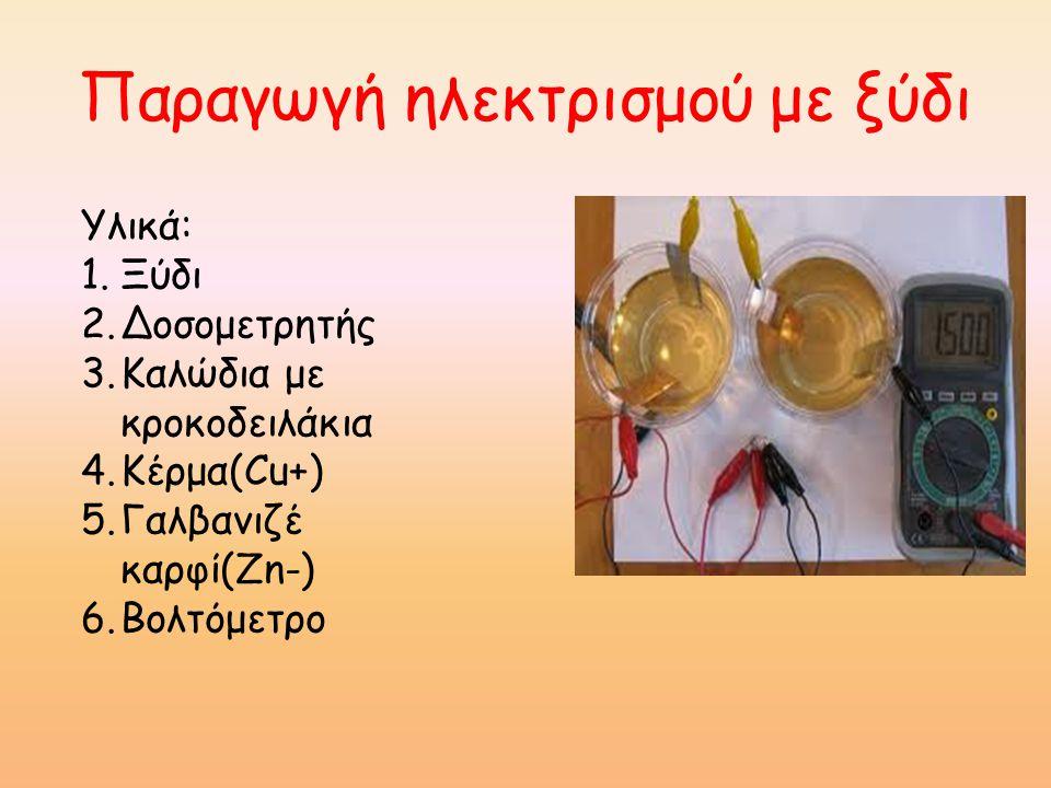 Παραγωγή ηλεκτρισμού με ξύδι Υλικά: 1.Ξύδι 2.Δοσομετρητής 3.Καλώδια με κροκοδειλάκια 4.Κέρμα(Cu+) 5.Γαλβανιζέ καρφί(Zn-) 6.Βολτόμετρο