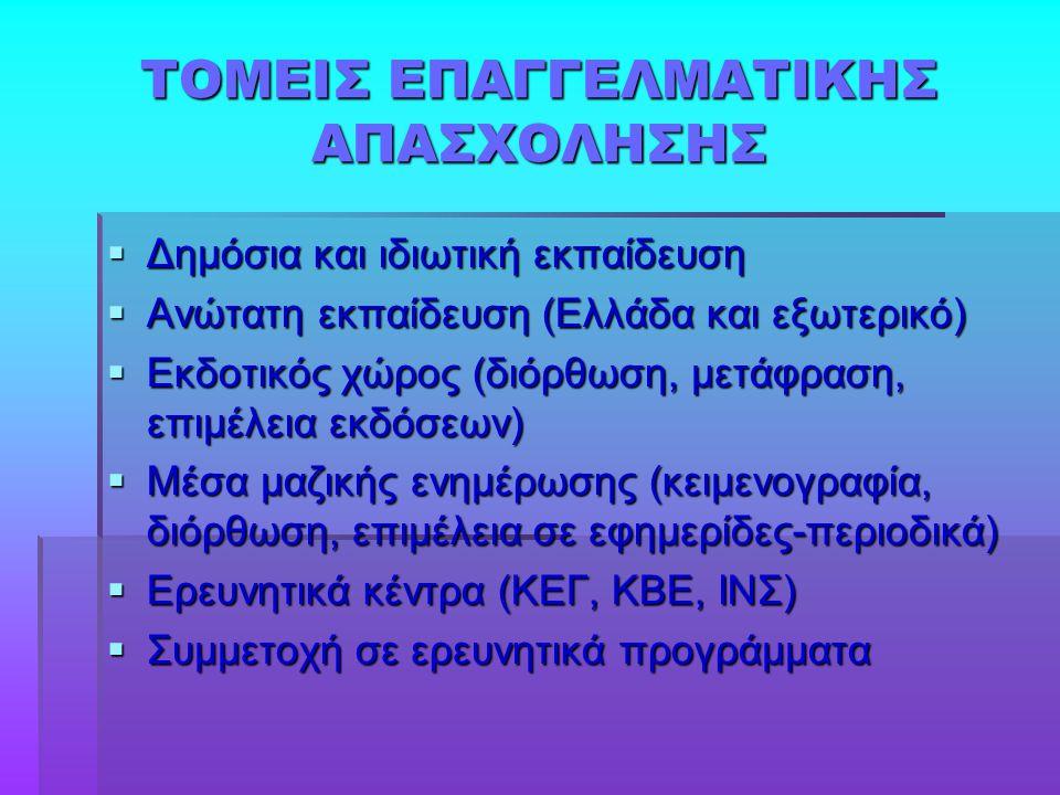 ΤΟΜΕΙΣ ΕΠΑΓΓΕΛΜΑΤΙΚΗΣ ΑΠΑΣΧΟΛΗΣΗΣ  Δημόσια και ιδιωτική εκπαίδευση  Ανώτατη εκπαίδευση (Ελλάδα και εξωτερικό)  Εκδοτικός χώρος (διόρθωση, μετάφραση