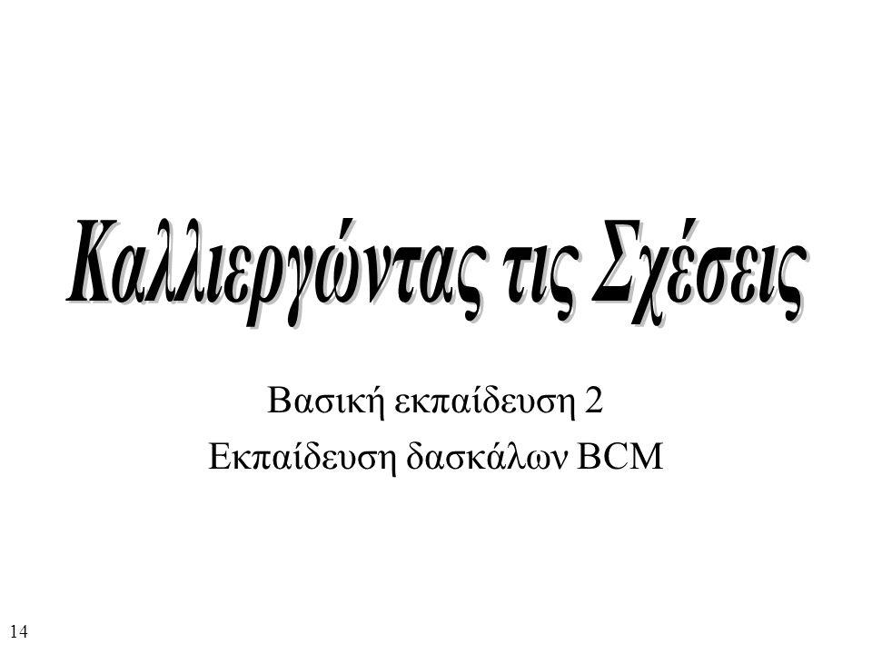 Βασική εκπαίδευση 2 Εκπαίδευση δασκάλων BCM 14