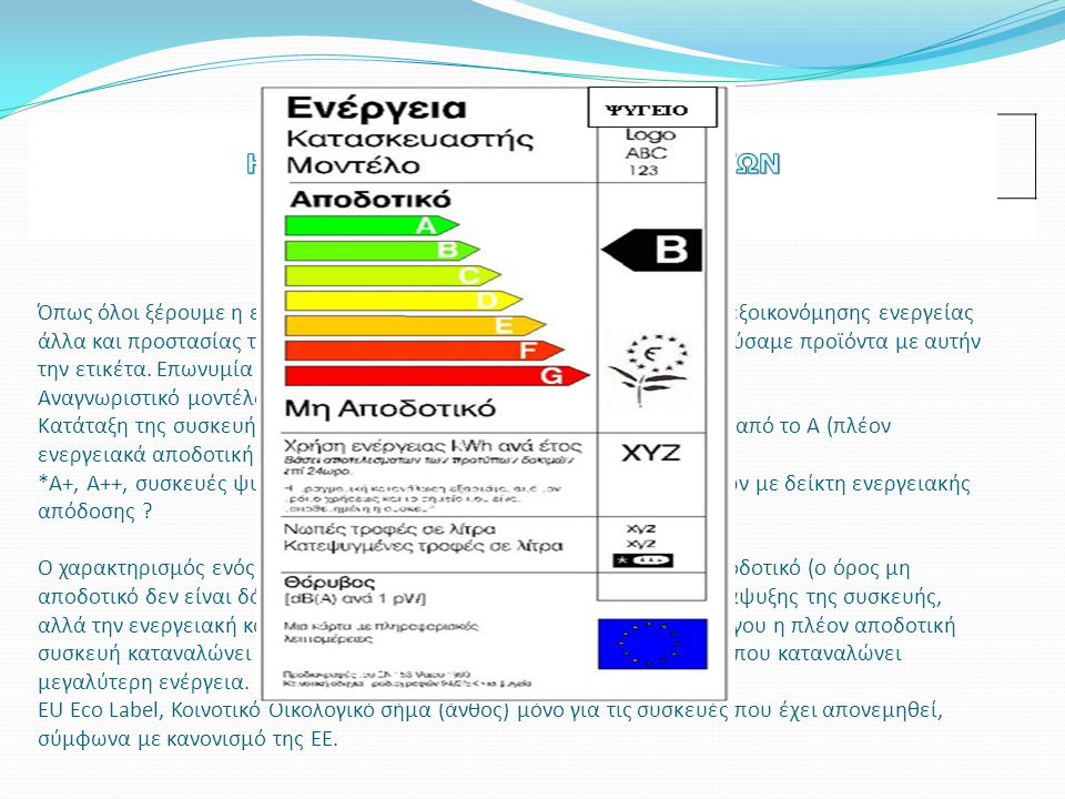 Όπως όλοι ξέρουμε η ετικέτα ενεργειακής σήμανσης είναι ένας τρόπος εξοικονόμησης ενεργείας άλλα και προστασίας του περιβάλλοντος γιατί καλό θα ήταν να