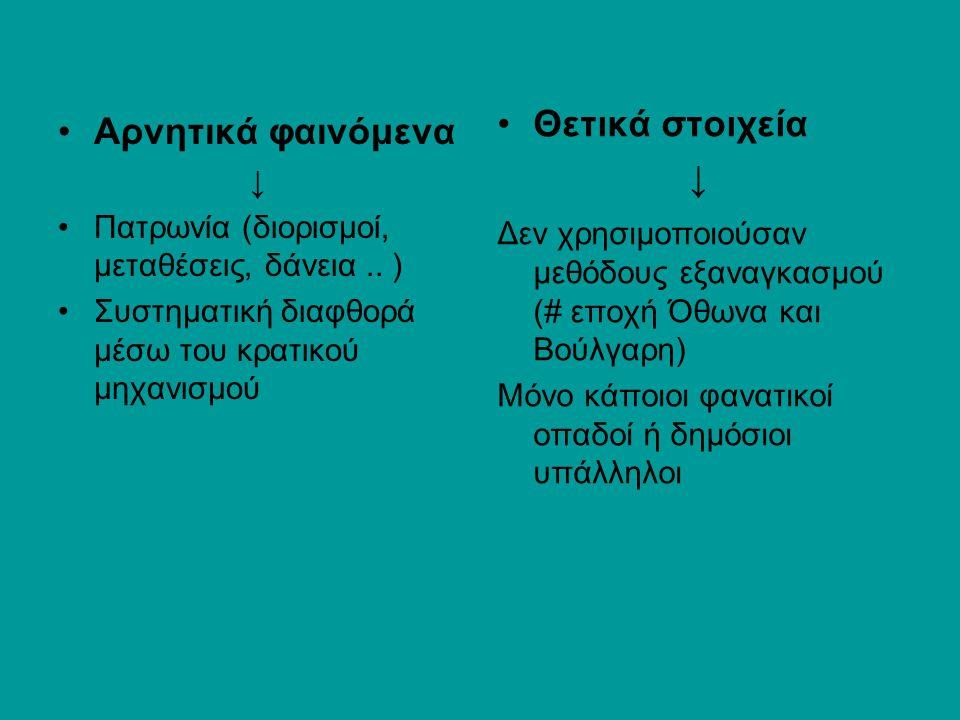 Αρνητικά φαινόμενα ↓ Πατρωνία (διορισμοί, μεταθέσεις, δάνεια.. ) Συστηματική διαφθορά μέσω του κρατικού μηχανισμού Θετικά στοιχεία ↓ Δεν χρησιμοποιούσ