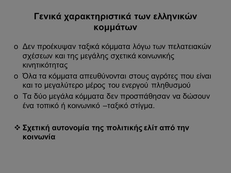 Γενικά χαρακτηριστικά των ελληνικών κομμάτων oΔεν προέκυψαν ταξικά κόμματα λόγω των πελατειακών σχέσεων και της μεγάλης σχετικά κοινωνικής κινητικότητ