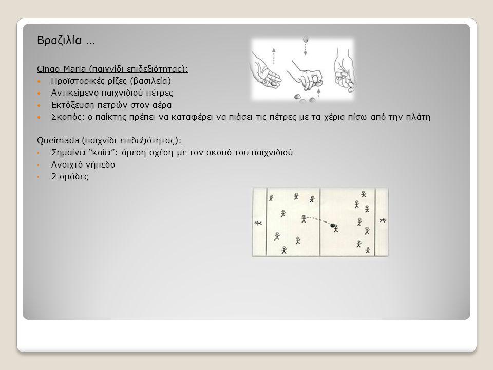 Βραζιλία … Cinqo Maria (παιχνίδι επιδεξιότητας): Προϊστορικές ρίζες (βασιλεία) Αντικείμενο παιχνιδιού πέτρες Εκτόξευση πετρών στον αέρα Σκοπός: ο παίκ