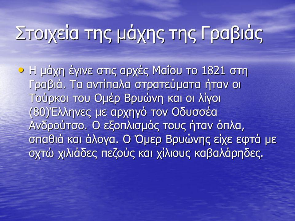 Στοιχεία της μάχης της Γραβιάς Η μάχη έγινε στις αρχές Μαΐου το 1821 στη Γραβιά. Τα αντίπαλα στρατεύματα ήταν οι Τούρκοι του Ομέρ Βρυώνη και οι λίγοι