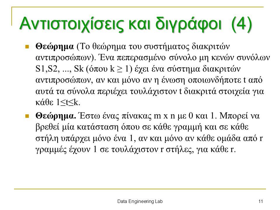 Αντιστοιχίσεις και διγράφοι (4) Θεώρημα (Το θεώρημα του συστήματος διακριτών αντιπροσώπων). Ένα πεπερασμένο σύνολο μη κενών συνόλων S1,S2,..., Sk (όπο