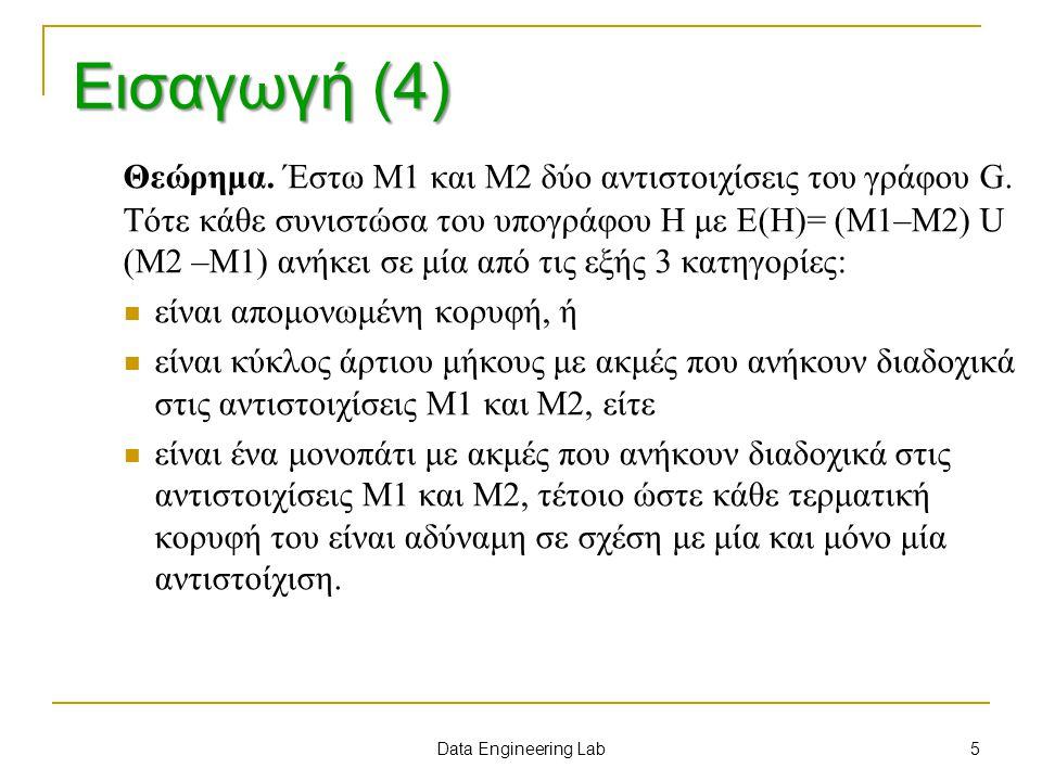 Θεώρημα. Έστω M1 και M2 δύο αντιστοιχίσεις του γράφου G. Τότε κάθε συνιστώσα του υπογράφου H με E(H)= (M1–M2) U (M2 –M1) ανήκει σε μία από τις εξής 3