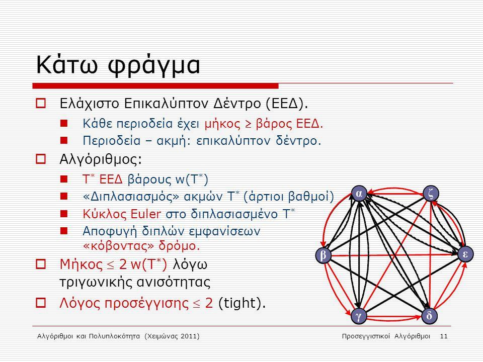 Αλγόριθμοι και Πολυπλοκότητα (Χειμώνας 2011)Προσεγγιστικοί Αλγόριθμοι 11 Κάτω φράγμα  Ελάχιστο Επικαλύπτον Δέντρο (ΕΕΔ).