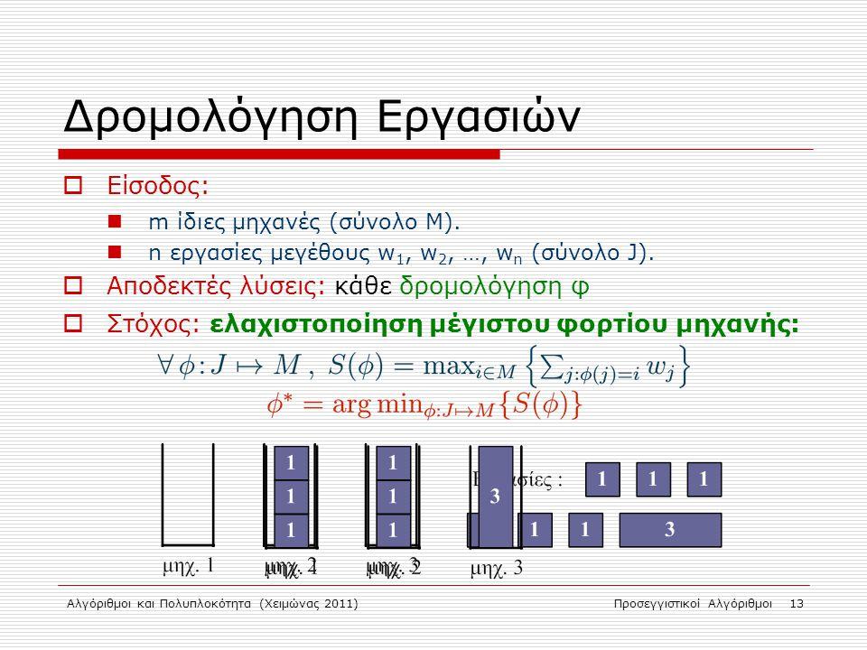 Αλγόριθμοι και Πολυπλοκότητα (Χειμώνας 2011)Προσεγγιστικοί Αλγόριθμοι 13 Δρομολόγηση Εργασιών  Είσοδος: m ίδιες μηχανές (σύνολο Μ).