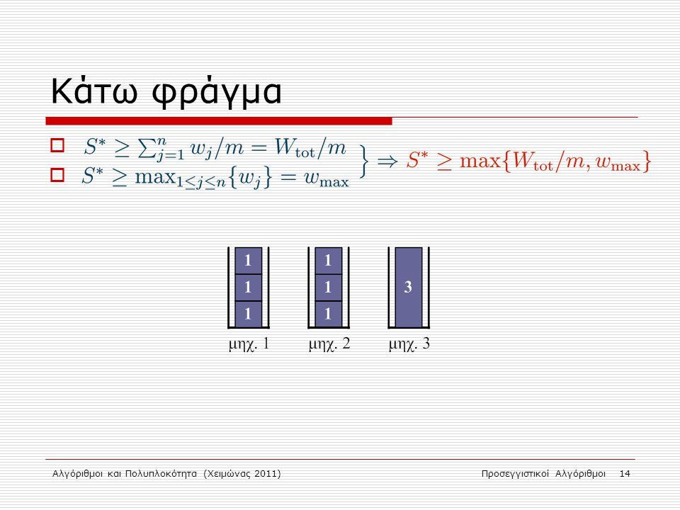 Αλγόριθμοι και Πολυπλοκότητα (Χειμώνας 2011)Προσεγγιστικοί Αλγόριθμοι 14 Κάτω φράγμα . 