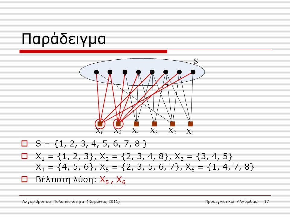 Αλγόριθμοι και Πολυπλοκότητα (Χειμώνας 2011)Προσεγγιστικοί Αλγόριθμοι 17 Παράδειγμα  S = {1, 2, 3, 4, 5, 6, 7, 8 }  X 1 = {1, 2, 3}, X 2 = {2, 3, 4, 8}, X 3 = {3, 4, 5} X 4 = {4, 5, 6}, X 5 = {2, 3, 5, 6, 7}, X 6 = {1, 4, 7, 8}  Βέλτιστη λύση: X 5, X 6