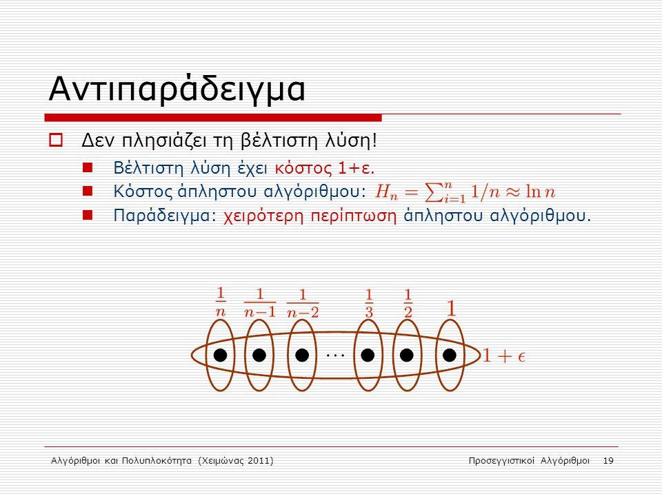 Αλγόριθμοι και Πολυπλοκότητα (Χειμώνας 2011)Προσεγγιστικοί Αλγόριθμοι 19 Αντιπαράδειγμα  Δεν πλησιάζει τη βέλτιστη λύση.