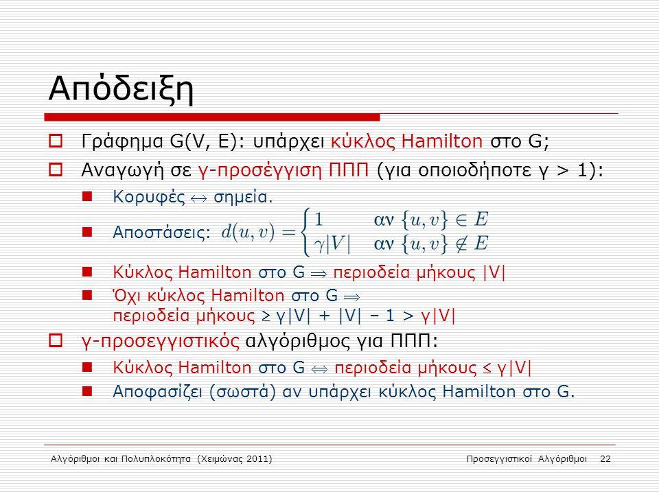 Αλγόριθμοι και Πολυπλοκότητα (Χειμώνας 2011)Προσεγγιστικοί Αλγόριθμοι 22 Απόδειξη  Γράφημα G(V, E): υπάρχει κύκλος Hamilton στο G;  Αναγωγή σε γ-προσέγγιση ΠΠΠ (για οποιοδήποτε γ > 1): Κορυφές  σημεία.