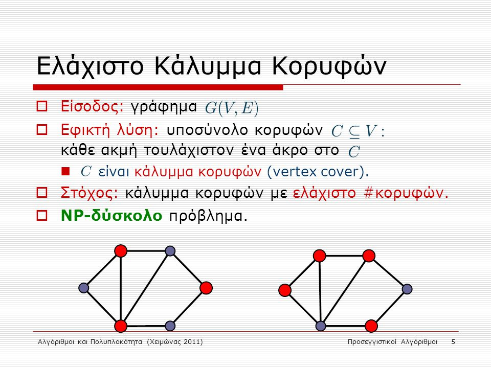 Αλγόριθμοι και Πολυπλοκότητα (Χειμώνας 2011)Προσεγγιστικοί Αλγόριθμοι 16 Κάλυμμα Συνόλου (Set Cover)  Σύνολο στοιχείων  Μη-κενά υποσύνολα του  Κόστος υποσυνόλων:  Ζητούμενο: κάλυμμα S με ελάχιστο κόστος.
