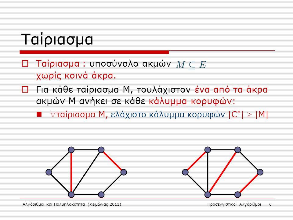 Αλγόριθμοι και Πολυπλοκότητα (Χειμώνας 2011)Προσεγγιστικοί Αλγόριθμοι 7 Μεγιστοτικό Ταίριασμα  Μεγιστοτικό ταίριασμα : ταίριασμα που αν προσθέσουμε ακμή παύει να είναι ταίριασμα.