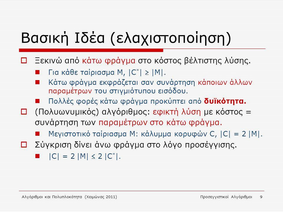 Αλγόριθμοι και Πολυπλοκότητα (Χειμώνας 2011)Προσεγγιστικοί Αλγόριθμοι 9 Βασική Ιδέα (ελαχιστοποίηση)  Ξεκινώ από κάτω φράγμα στο κόστος βέλτιστης λύσης.
