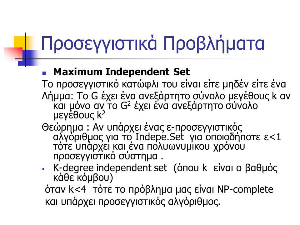 Προσεγγιστικά Προβλήματα Maximum Independent Set To προσεγγιστικό κατώφλι του είναι είτε μηδέν είτε ένα Λήμμα: Το G έχει ένα ανεξάρτητο σύνολο μεγέθους k αν και μόνο αν το G 2 έχει ένα ανεξάρτητο σύνολο μεγέθους k 2 Θεώρημα : Αν υπάρχει ένας ε-προσεγγιστικός αλγόριθμος για το Ιndepe.Set για οποιοδήποτε ε<1 τότε υπάρχει και ένα πολυωνυμικου χρόνου προσεγγιστικό σύστημα.
