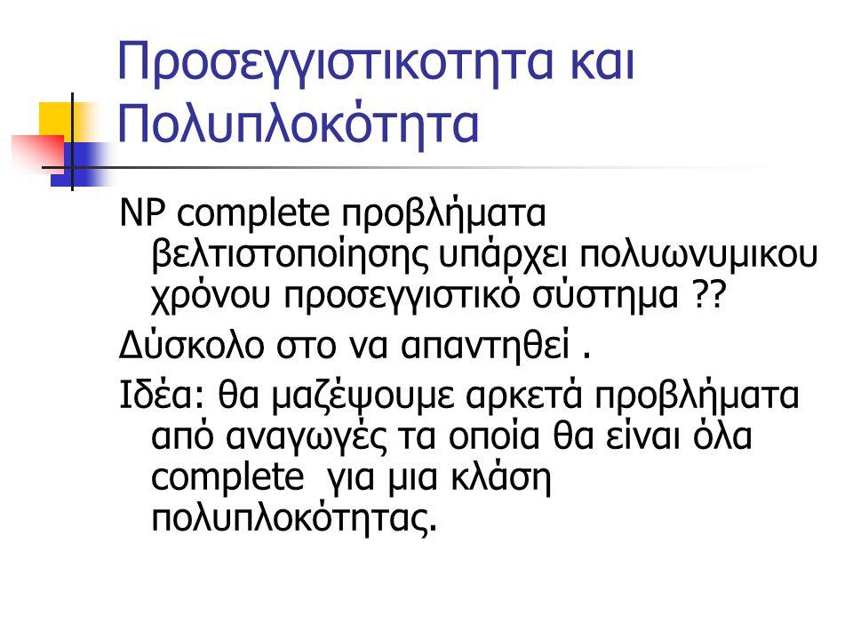 Προσεγγιστικοτητα και Πολυπλοκότητα NP complete προβλήματα βελτιστοποίησης υπάρχει πολυωνυμικου χρόνου προσεγγιστικό σύστημα ?.