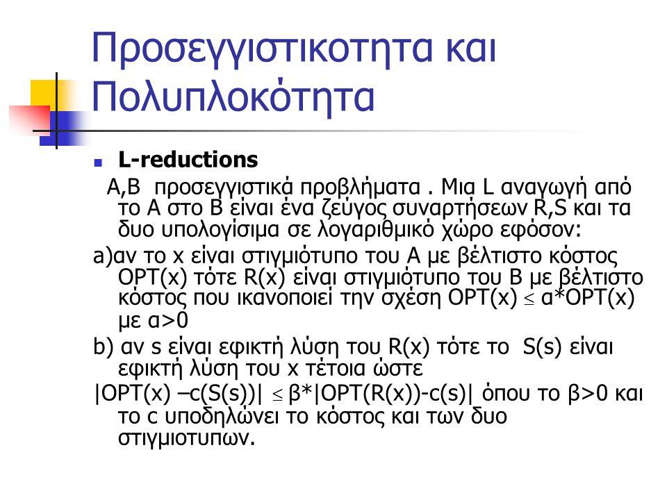 Προσεγγιστικοτητα και Πολυπλοκότητα L-reductions Α,Β προσεγγιστικά προβλήματα.